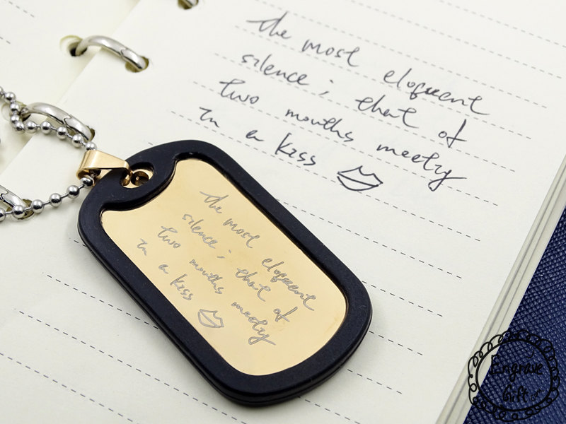 Custom Handwriting Necklace Dog Tag in Jewelry Memorial Signature Personalized Engraved