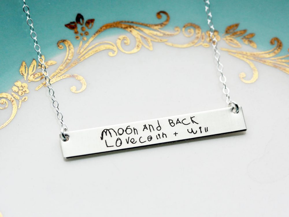 Engraved Children's Handwriting Necklace - Mother's Day Gift Idea For Mom, Her, Personalized Gift, Custom Bar Hwr