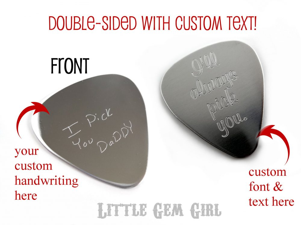 Double Sided Engraved Handwriting & Custom Text Guitar Pick - Unisex Musician 1 Inch Stainless Steel Key Chain Or Necklace