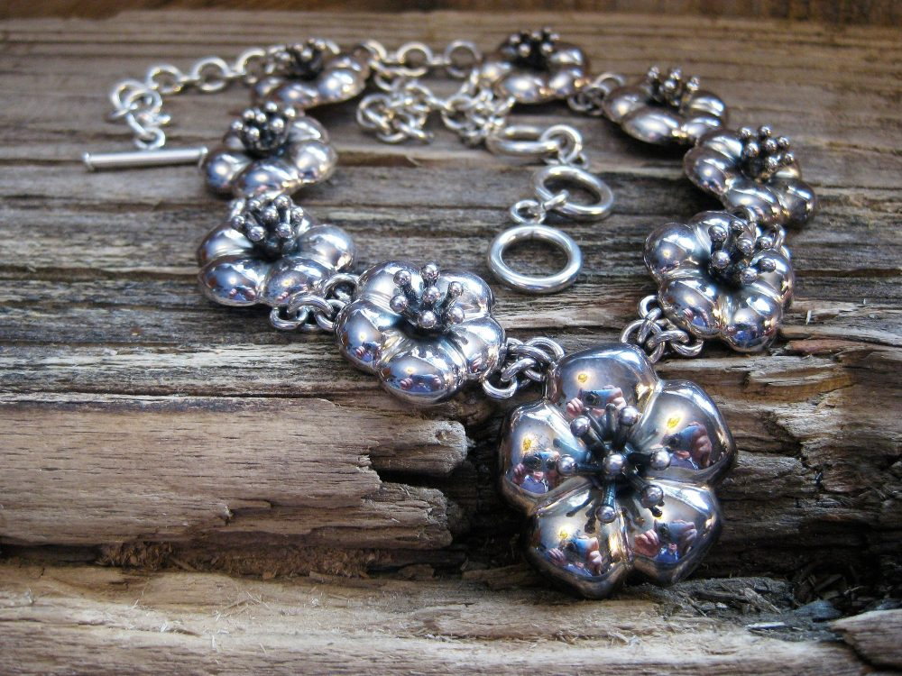 """Wow Heavy Sterling Flower Garland Necklace, Dimensional, Adjustable 16"""" To 18"""" Toggle. Stunning Wedding, Tropical Cruise, Signature Look"""