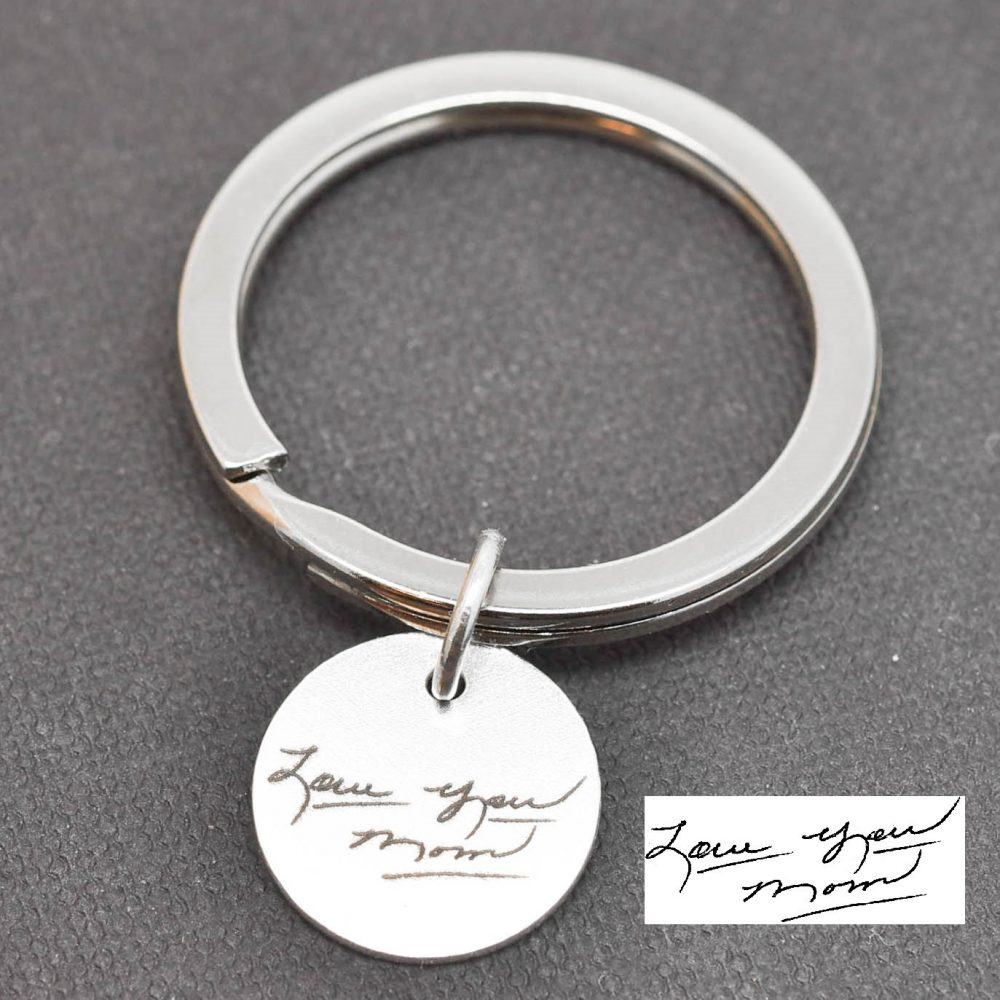 Handwriting Keychain, Jewelry, Engraved Necklace, Personalized Bridesmaid Gift, Best Friend, Sister