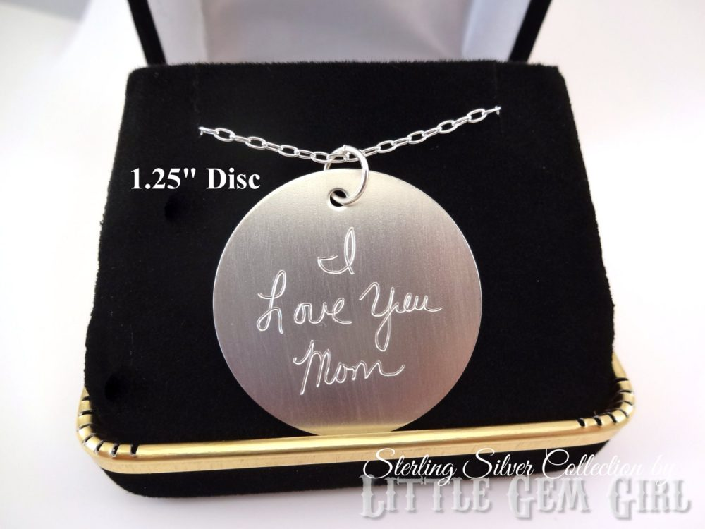 sterling Silver Engraved Custom Handwriting Necklace - Personalized Signature Round Disc Pendant Memorial Jewelry