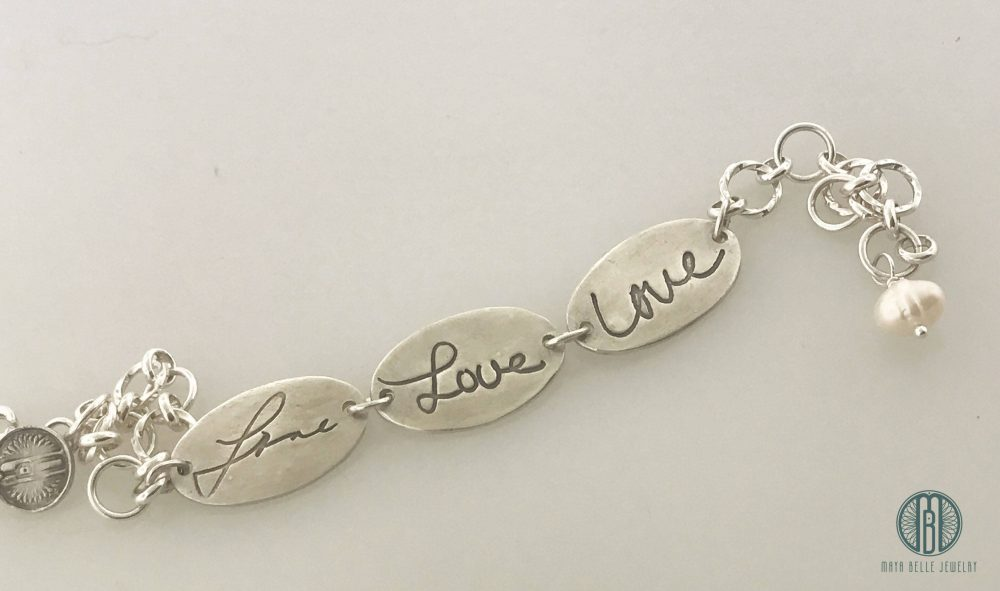 Three Generations Love Handwriting Bracelet, Actual Writing, Gift For Mom, Daughter, Grandmother