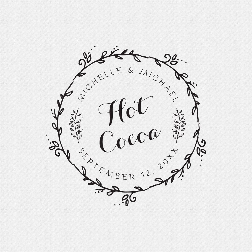 Custom Hot Cocoa Wedding Favor Rubber Stamp For Diy Drink Decor, Chocolate Favors, Fall Or Winter Weddings | T565
