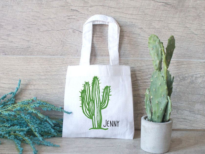 Cactus Tote Bag, Scottsdale, Small Favor Bridesmaid Gift Tote, Bachelorette Wedding Bags, Welcome Bag