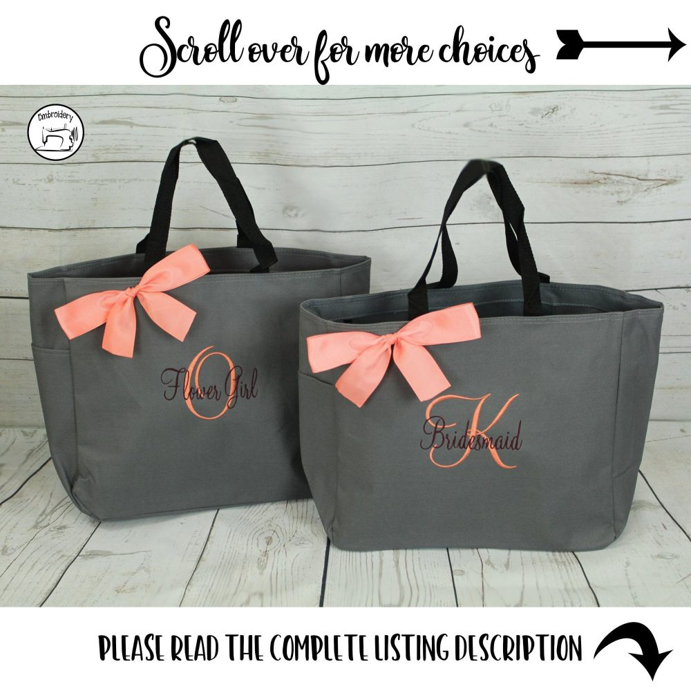 Personalized Tote Bag, Bridesmaid Gift, Tote, Bridesmaids Monogrammed | Ess1 Bs