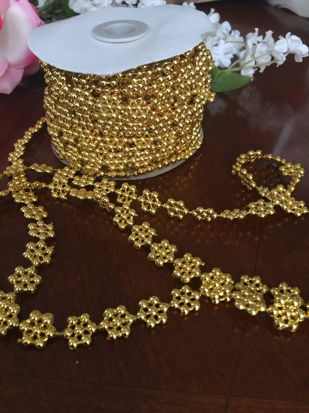1 Yard Of Gold Tone Flower Beads Garland, Acrylic Flower Strand, Plastic Bead Wedding Decor, Baptism Supplies, Decor