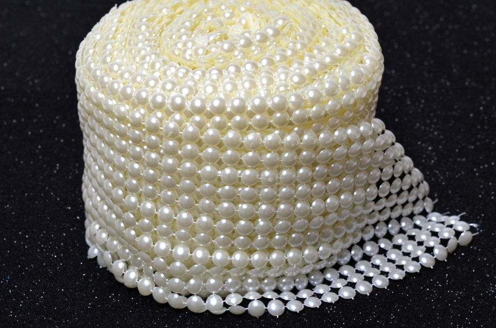 Pearl Mesh Roll Flat Back 8mm Party Decorations. 12 Row