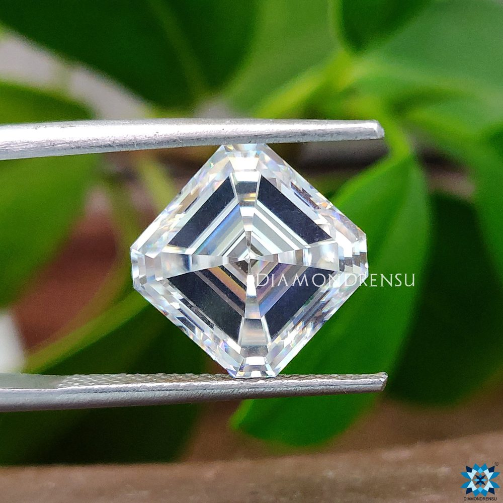 5.17 Ct Asscher Near White Grey Loose Moissanite For Jewelry, Engagement Ring, Wedding Ring & Customized Best Gift