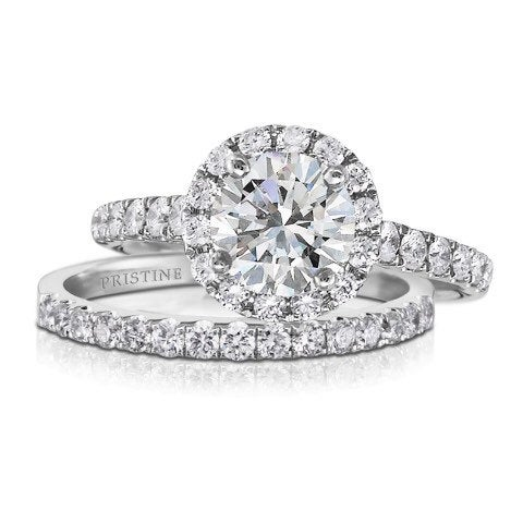 Moissanite Halo Engagement Ring Set Round 1.0Ct Forever One Colorless .35Ct Diamonds Wedding Pristine Custom Rings