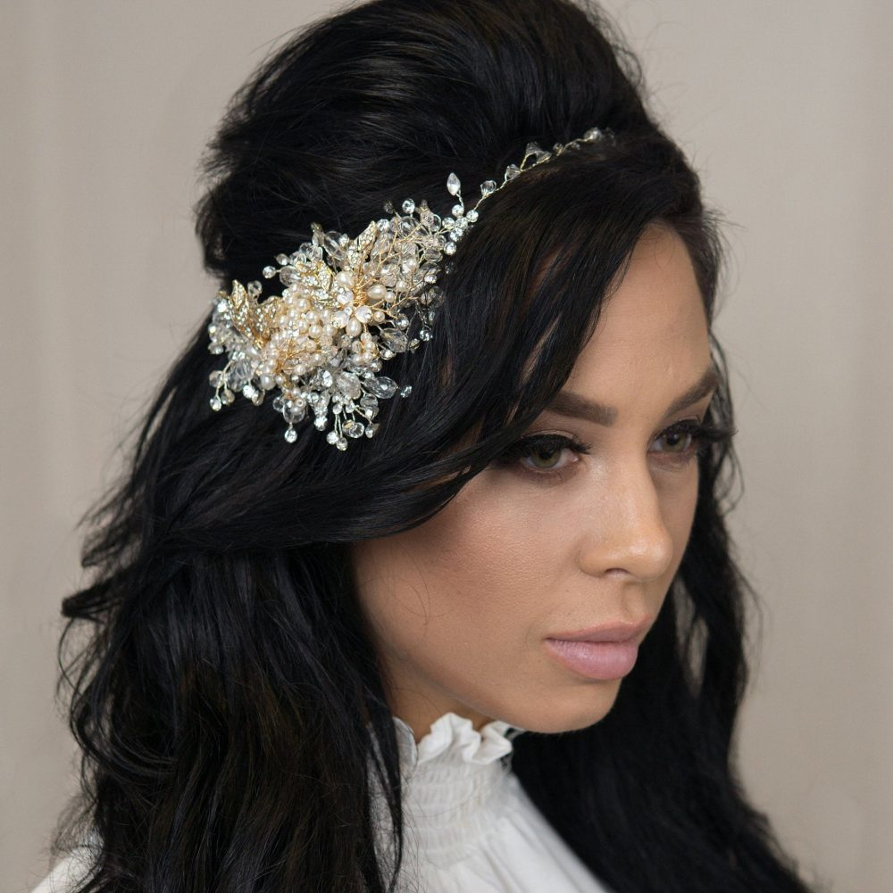 Bridal Hair Vine Wedding Flower Crown Tiara Long Ducal Crystal Comb Pins