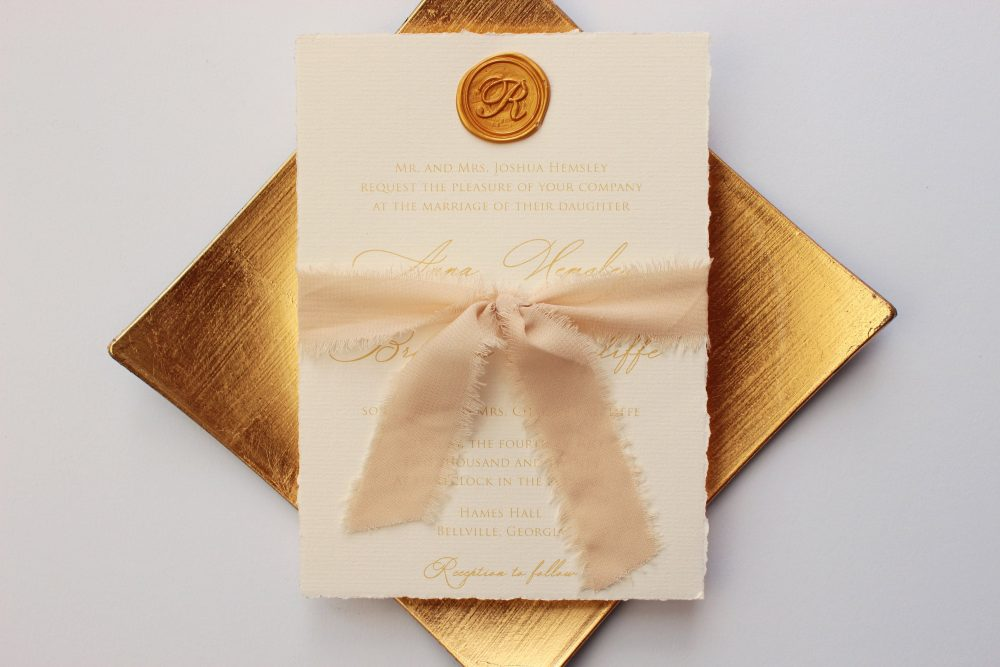 Sample, Deckled Edge Wedding Invitation, Hand Torn Champagne Wax Seal Silk Ribbon Invitation