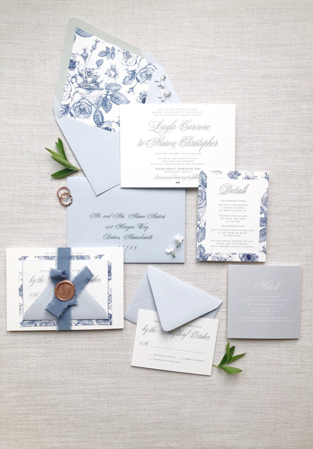 The Layla Wedding Invitation Suite, Blue & White Floral Chinoiserie Inspired Invitation, Silk Ribbon - Sample