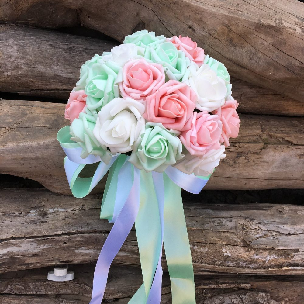 Bridal Bouquet Mint, Foam Rose Flower Light Pink, White, Mint Artificial Wedding Bouquet, Silk Ribbon Dj-53