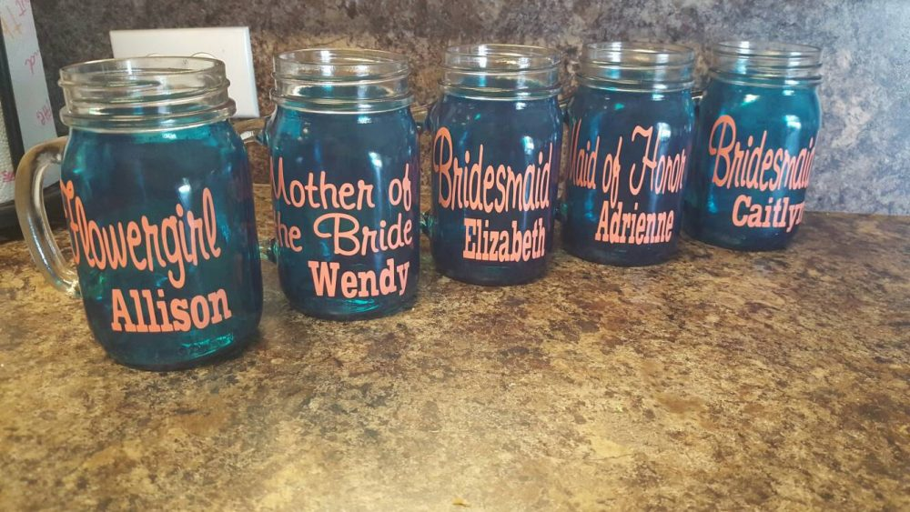 Wedding Personalized Sippy Mason Jar Tumbler - Glass With Handle -Coral Or Choose Your Colors- Weddings Welcome Turquoise & Coral