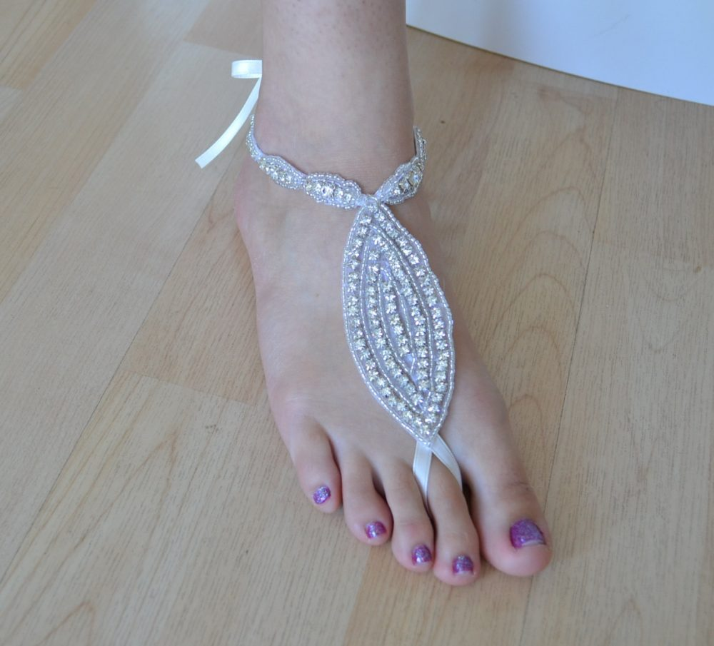 Bridal Barefoot Crystal Sandals Foot Jewelry Beach Wedding Rhinestones Ribbon, One Pair - Will Ship in 1-3 Business Days