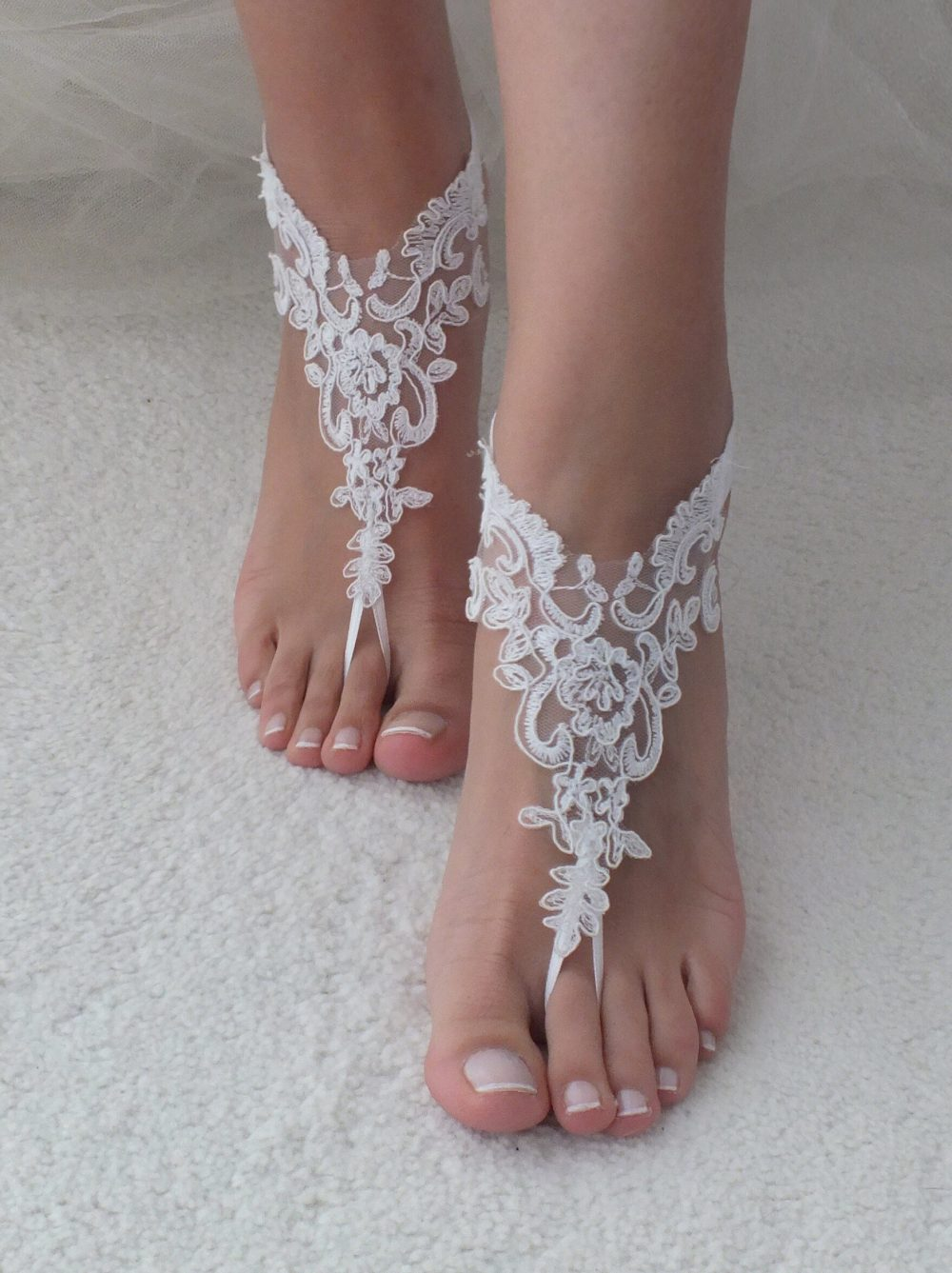Express Shipping Beach Shoes, Lace Barefoot Sandals, Wedding Bridal Bridesmaid Gift, Shoe