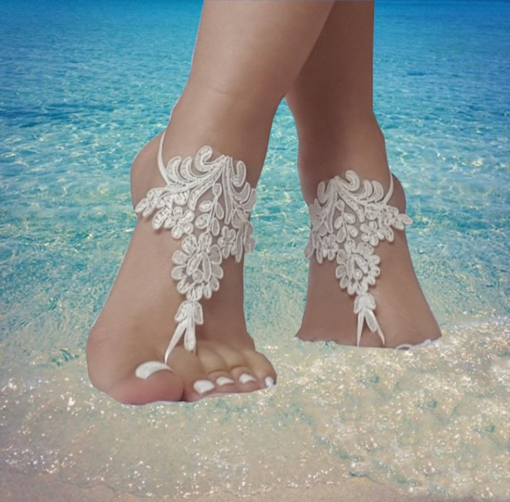 17 Color, Beach Wedding Barefoot Sandals, Bridesmaid, Bridal Beach Shoes Gothic Accessory, Steampunk, Bellydance, Wedding