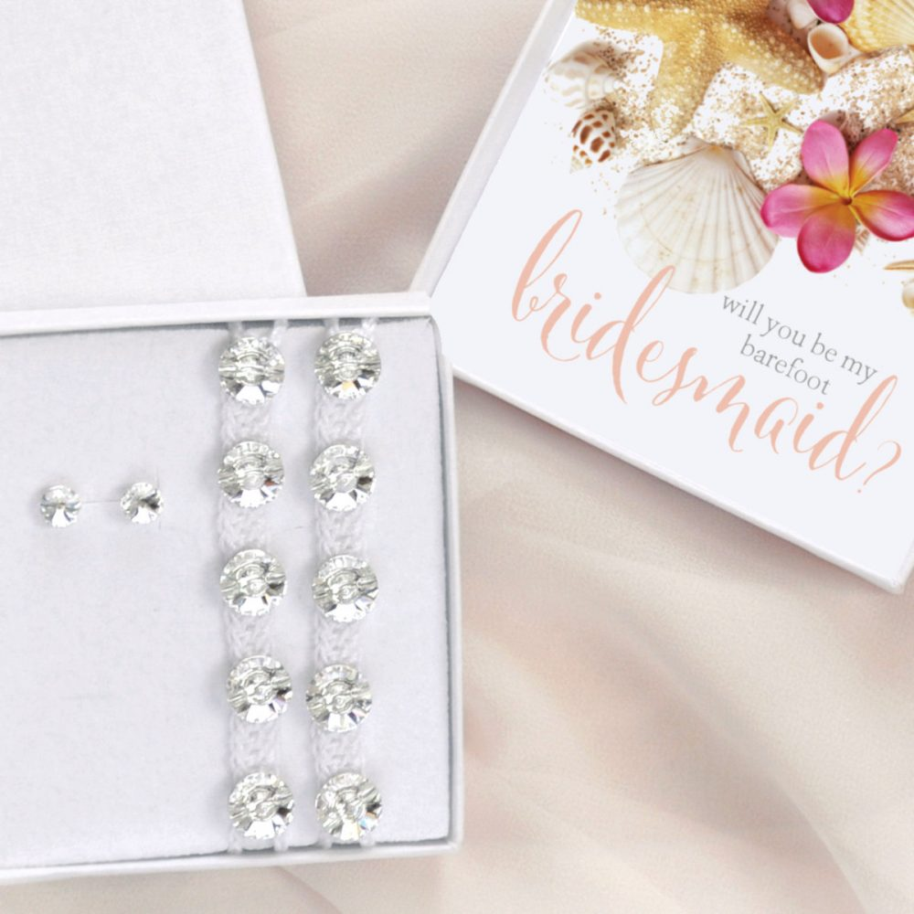Will You Be My Barefoot Bridesmaid Gift Box, Sandals & Studs, Beach Wedding Maid Of Honor Jewelry Set