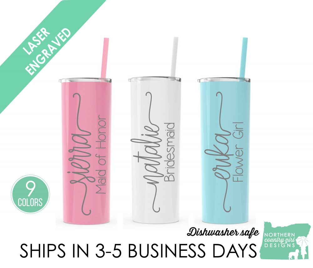 Bridesmaid Tumbler, Gift, Insulated Bridal Party, Bachelorette Wedding Personalized, Tumbler With Straw