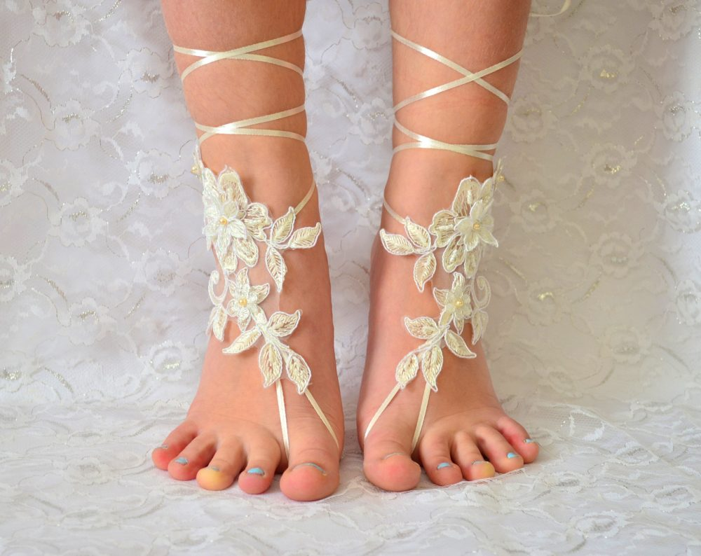 Lace Wedding Shoes, Ivory Barefoot Sandles Sandals, Beach Wedding Shoes, Lace Bridesmade Gift, Shoes