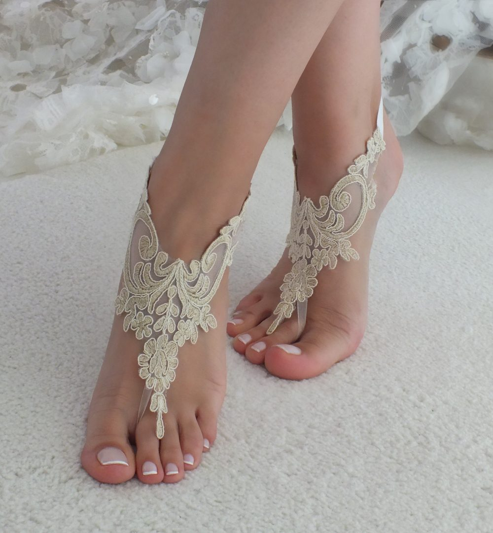 Champagne Lace Sandals Beach Wedding Barefoot Beach Shoes Bridal Accesories