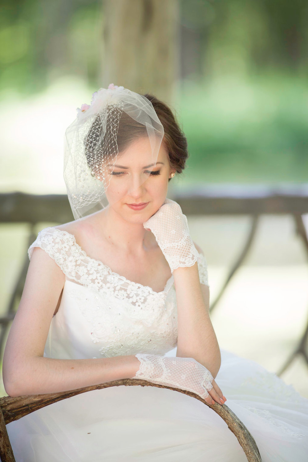 Tulle Birdcage Veil With Pearls, Ivory Blusher Veil, Net Veiling, - Isabelle White Birdcage, Bridal Hair Accessory