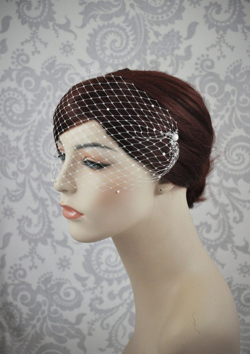 Pearl Bandeau Veil, Birdcage Blusher Veil With Tiny Pearls On French Netting, Vintage Style Rhinestone - 122Bc