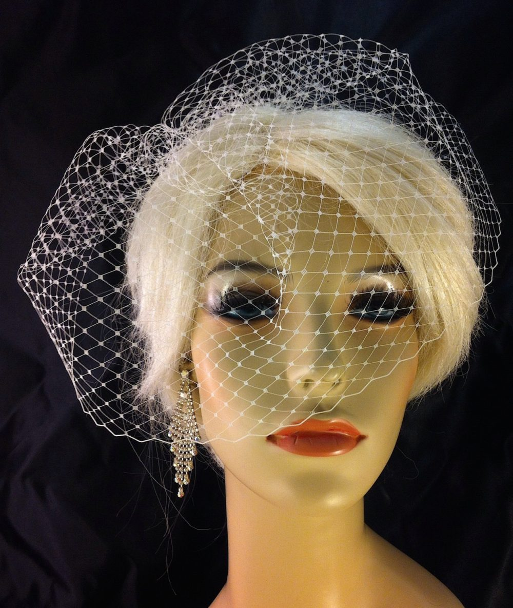 Bridal Birdcage Veil, White Wedding Fascinator Bachelorette Blusher French Net Masquerade Veil