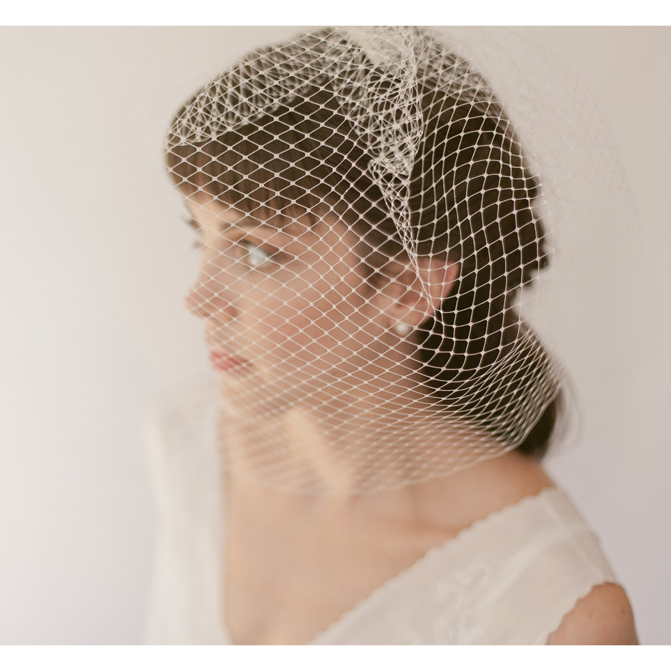 Bridal Birdcage Veil, French Net Blusher Veil 819