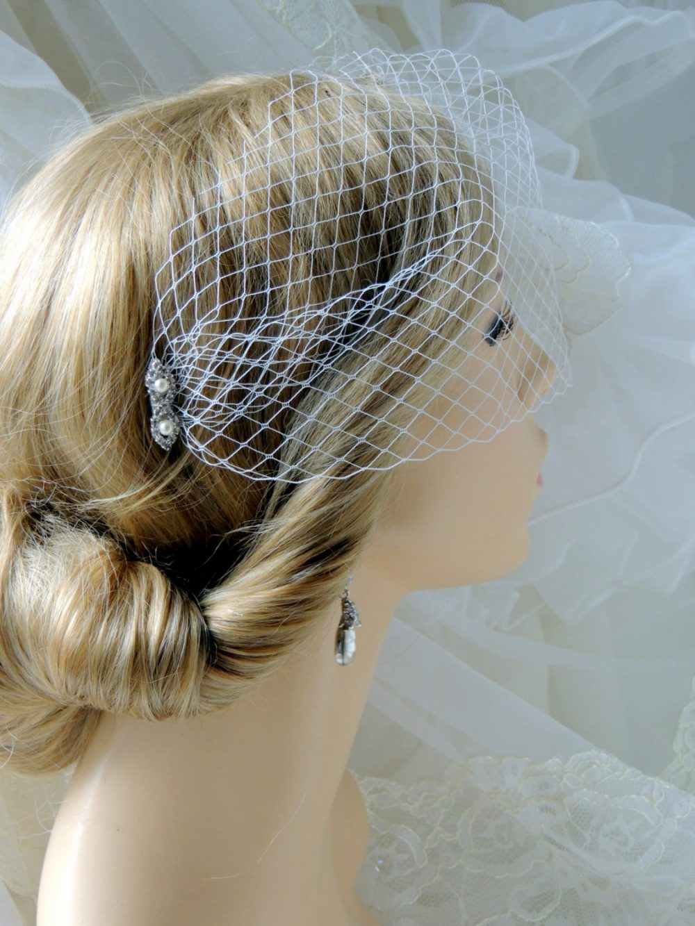 Bridal Blusher Veil, White Wedding Veil, 6 Inch French Net , Birdcage Veil On A Rhinestones Comb