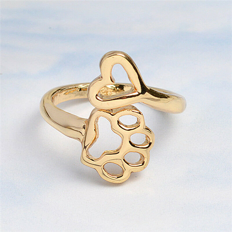 New 1/Pc Size Adjustable Foot Print Dog Pet Paw Lover Ring Jewelry Fashion Gold Knuckle Ring Party Charms Women Gift