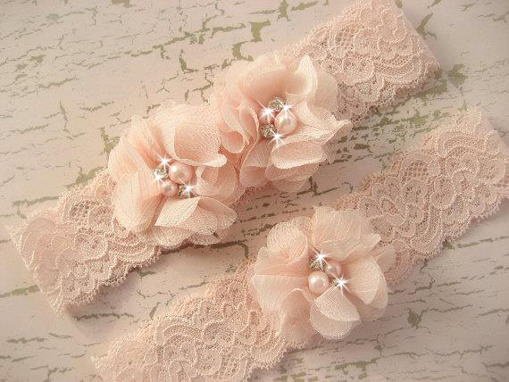 Hand Dyed Blush Wedding Garter Set With Toss in , Bridal Chiffon Blossoms Pearls & Rhinestones
