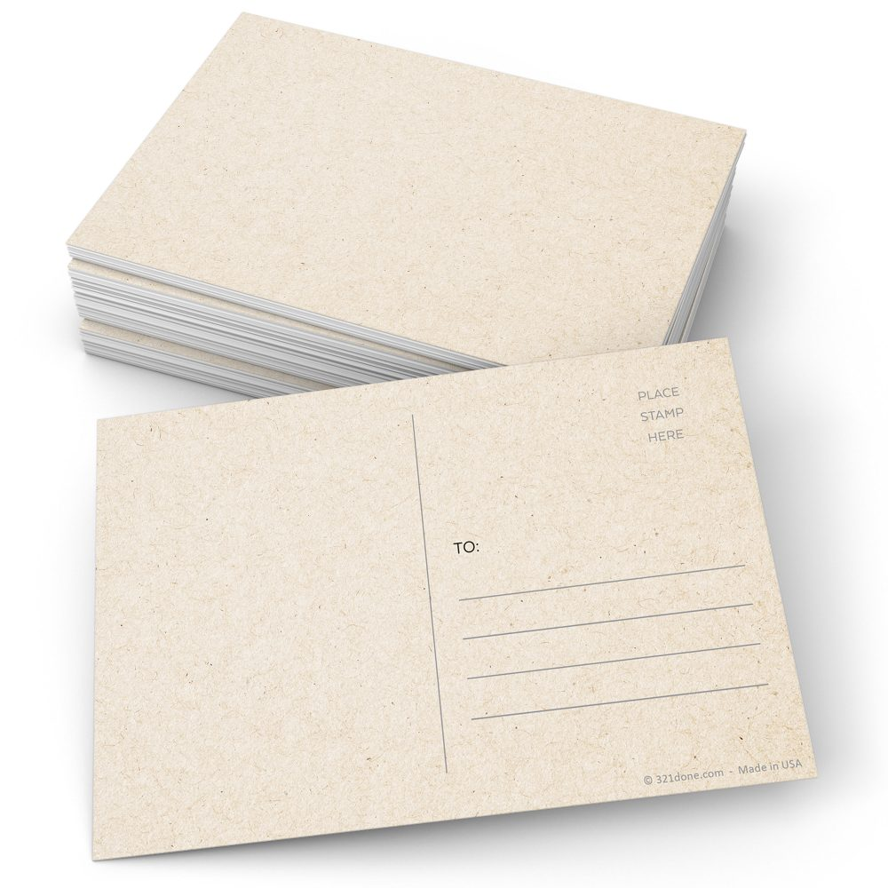 Blank Postcards | Set Of 50 - 4x6 Plain White Card Stock, Create Your Own For Kids, Mailing Address Post Office Thick Heavy Duty 321Done