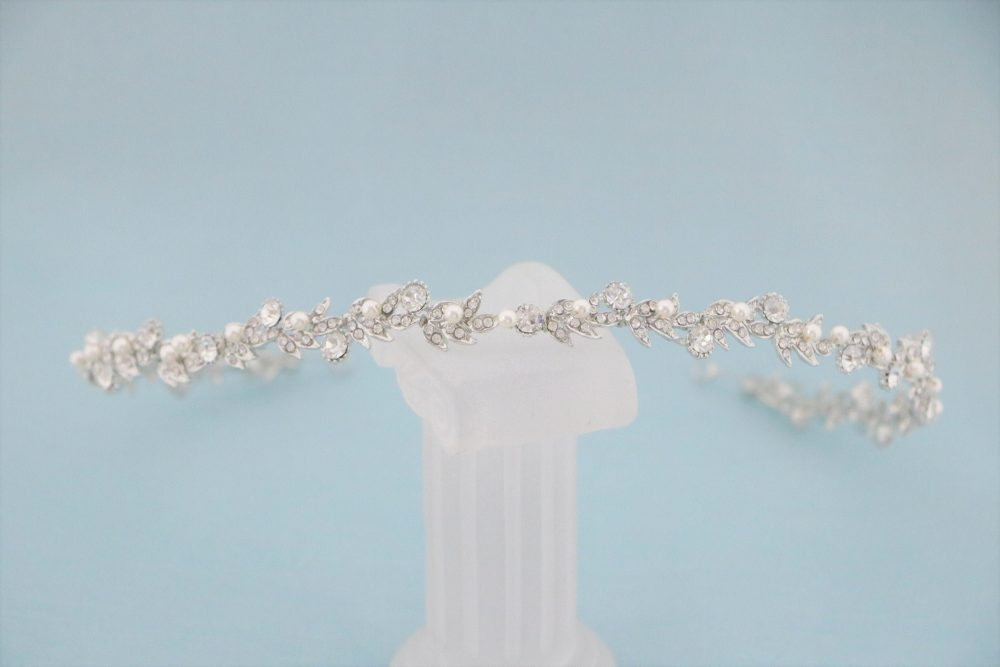 Bridal Headband Crown Crystal Wedding Pearl Tiara Hair Vine Hair Rose Gold With Accessory