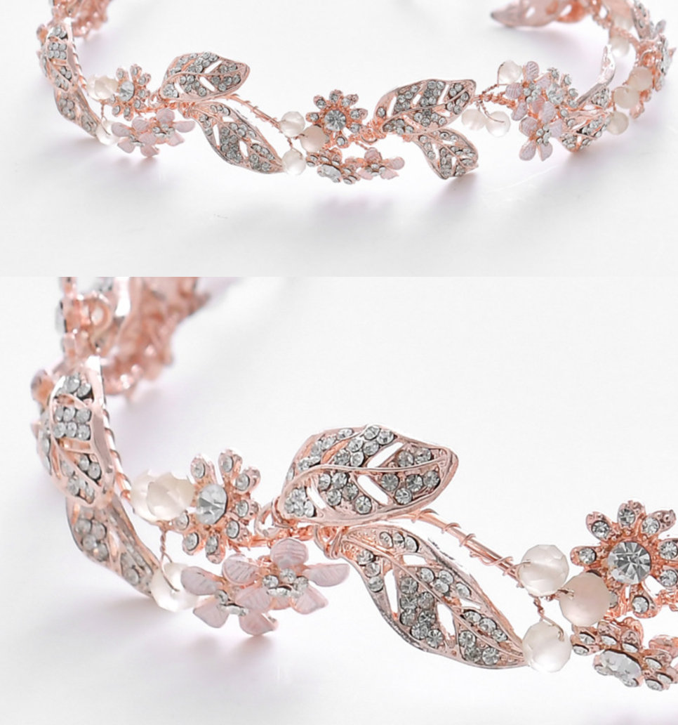 Rose Gold Flower Leaf Beaded Metal Crystal Wire, Wedding Pearl Tiara Vine Sew On Wire Supply, Jewelry Making