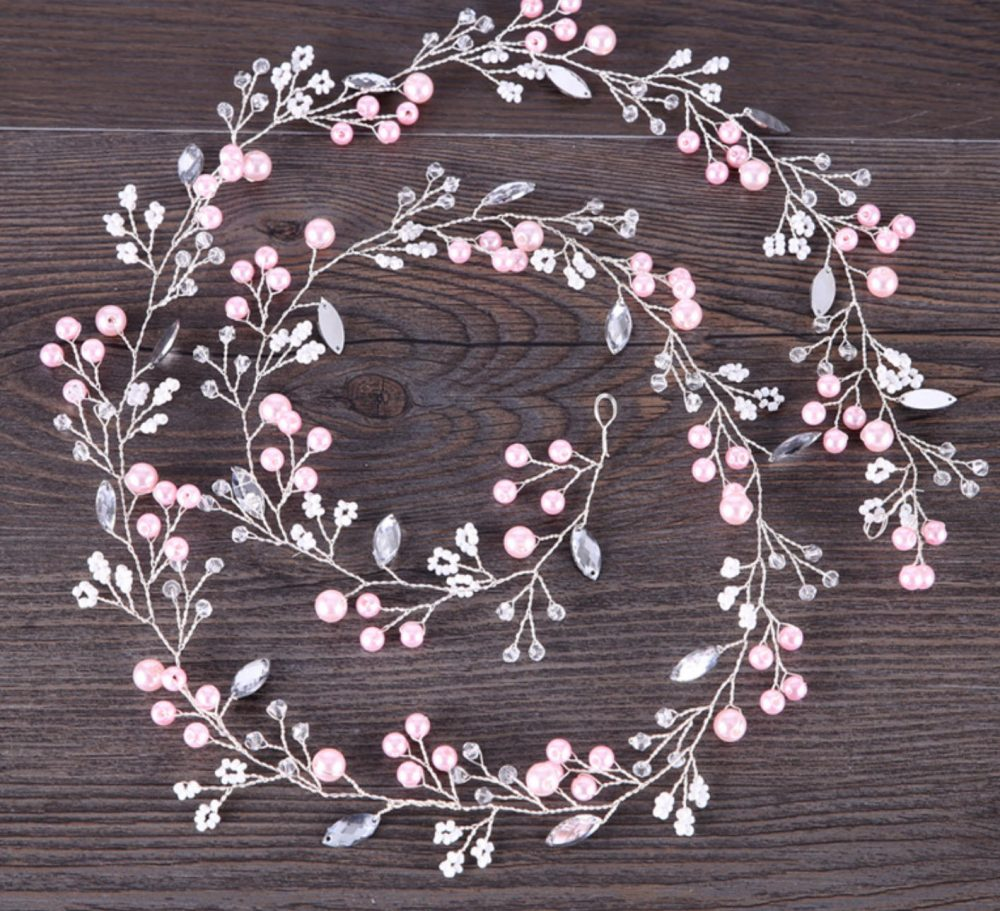 1 M - Pink Silver Wedding Pearl Tiara Vine Flower Wire Supply, Sash Diy, Bridal Jewelry Making, Headpiece Crystal