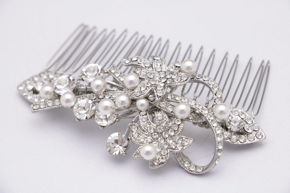 Floral Bridal Hair Comb, Flower Side Comb, Pearl Comb, Crystal Comb, Wedding Comb, Rhinestone Comb, Hair Clip, Vintage Style