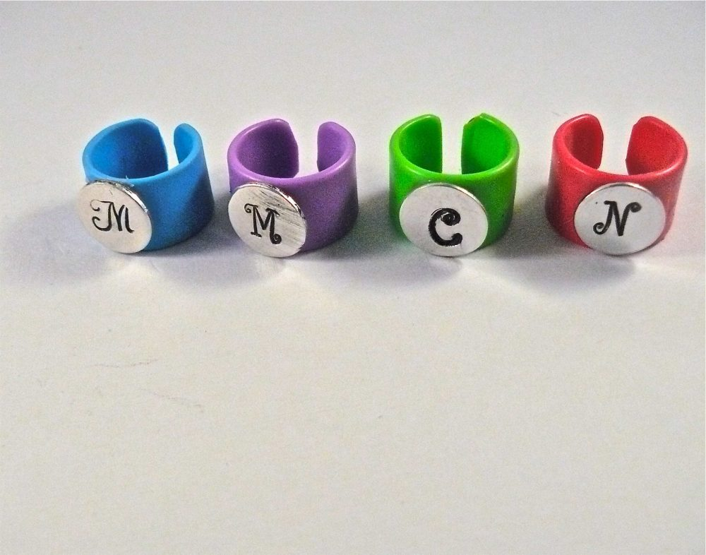 New & Exclusive, Stethoscope Id Ring-Cuff, Monogram Initial Ring, Charm, Medical, Neon Pink, Blue, Purple, Neon Green