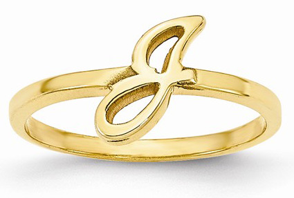 Personalized Script Initial Ring, 14K Yellow Gold
