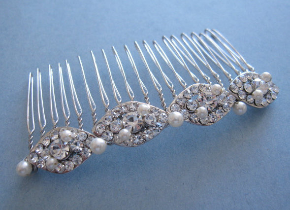 Bridal Comb Pearl Wedding Hair Comb, Bridal Accessories, Silver Clear Crystal Pearl Head Piece, Wedding Accessories Boho