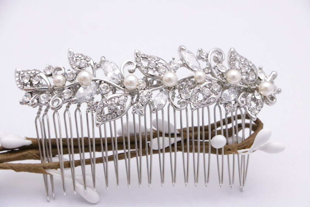 Gold Crystal Pearl Wedding Comb, Bridal Comb Pearl, Wedding Hair Comb, Hair Comb, Wedding Accessory, Gold Barrette Boho
