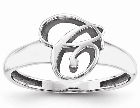 Cursive Custom Initial Ring in Sterling Silver