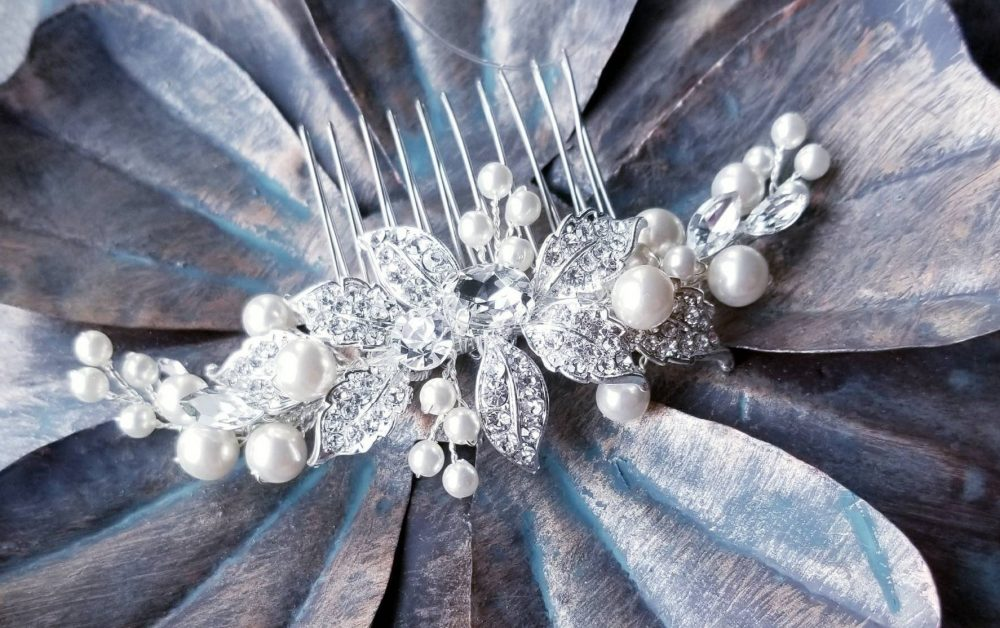 "3.25"" - Natural Pearl, Crystal & Rhinestone Comb Pearl Hair Beaded Clip Wedding Bridal Combs"