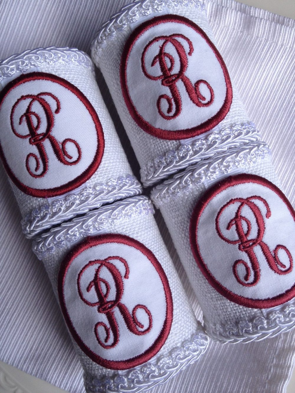 R Monogrammed Napkin Rings Personalized Handcrafted Letter Initial Monogram Hand Crafted Red White - #77