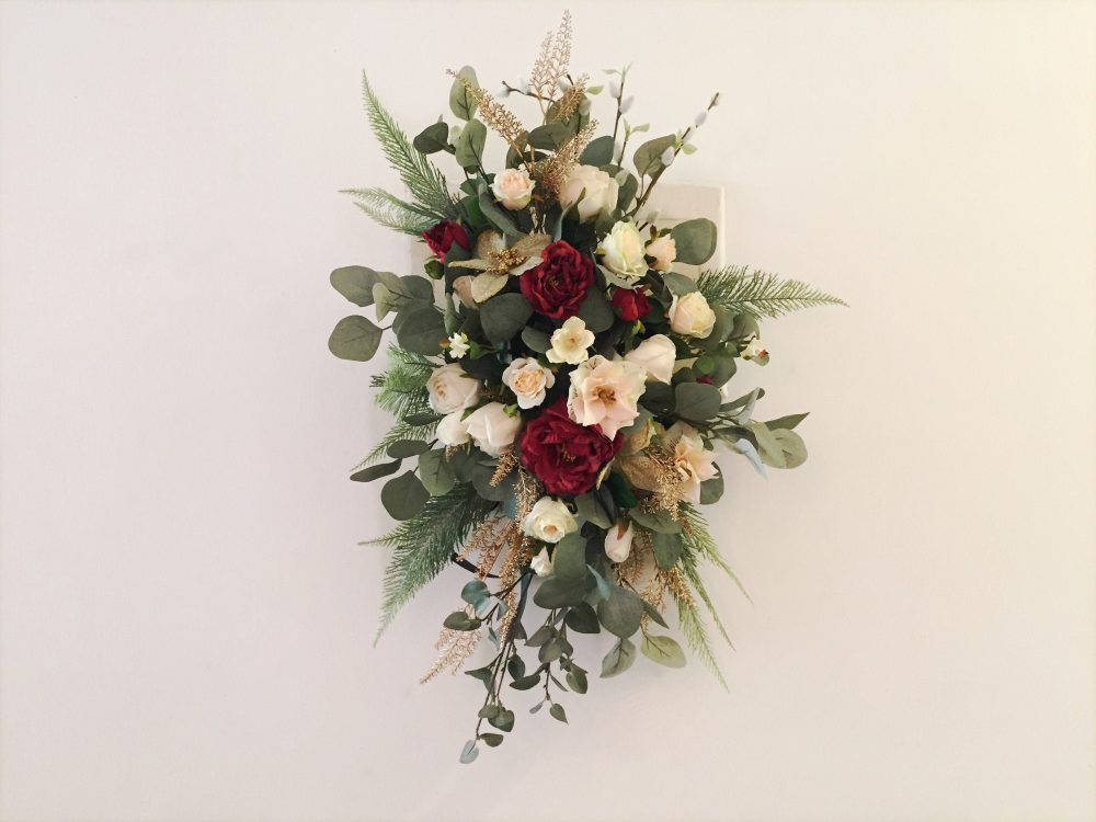 White, Gold & Champagne Flower Swag For Wedding Arch/Arbor/Archway/Front Door/Altar Decor, Silk Garland, Arch Hanging Flowers