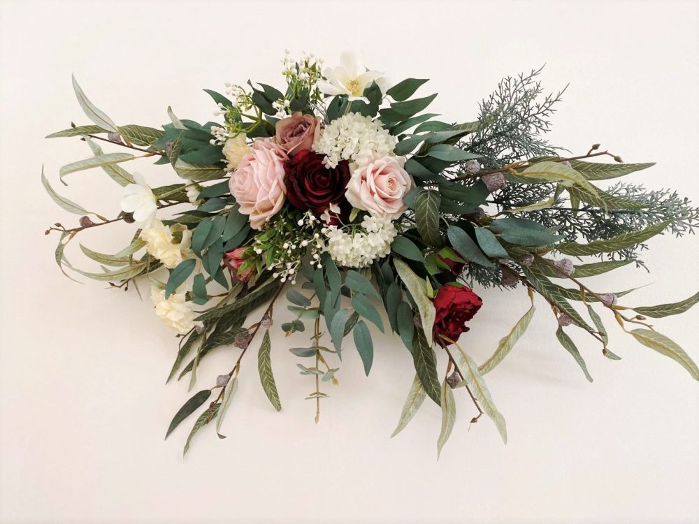 Burgundy, Blush, Mauve Hanging Flowers For Front Door/Wedding Arch/Arbor/Archway/Wall Decor, Silk Flower Swag, Decorations