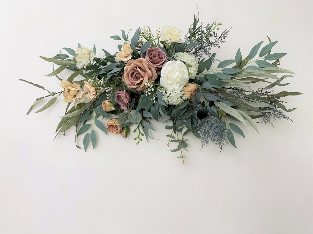 Rust Red & Mauve Rose With Eucalyptus Swag For Front Door/Wedding Arch/Arbor/Archway/Wall Decor, Silk Flower Swag, Wedding Hanging Flowers