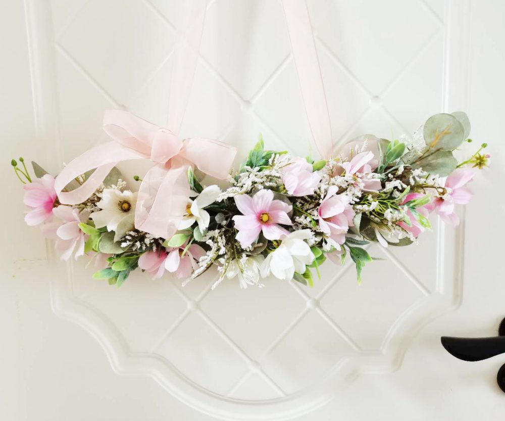 Pink Yellow Daisy Artificial Flower Swag For Front Door/Wedding Arch/Arbor/Archway/Wall Decor, Silk Flower Swag, Wedding Hanging Flowers/Sx