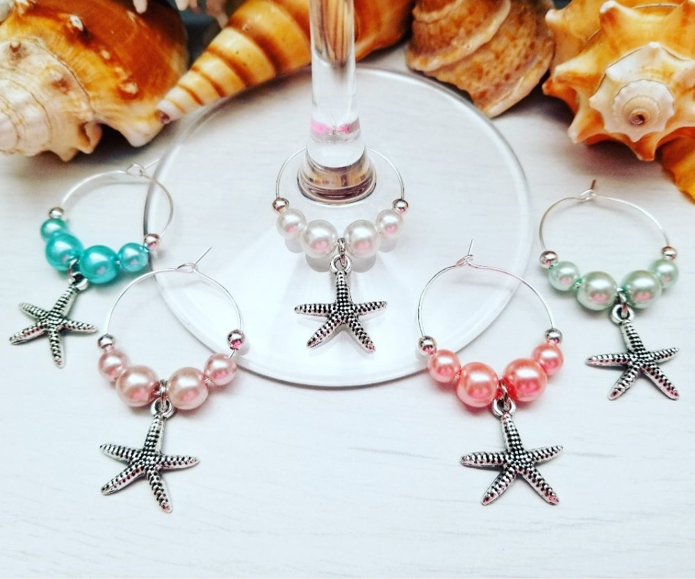 starfish Wedding Favors - 5 Wine Glass Charms Bridal Shower Decor, Beach Favors, Unique Gift